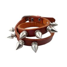 GELANG Gelang Leather 2 Metal Coklat Muda