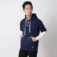 JUMPER Timo Jumper Hoodie Fleece with Shoe Laces Knot Biru Dongker