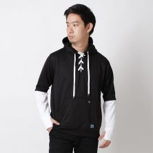 JUMPER Timo Jumper Hoodie Fleece with Shoe Laces Knot Hitam
