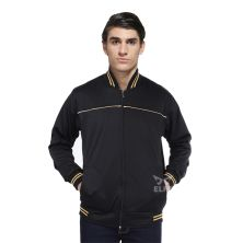 JAKET TRAINING Jaket Training Olahraga Kerah Baseball Varsity List Hitam Gold