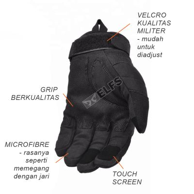 SARUNG TANGAN & MANSET Sarung Tangan TOUCH SCREEN Tactical Army Protector Motor Airsoft Paintball Sepeda Hitam 3 sarung_tangan_2