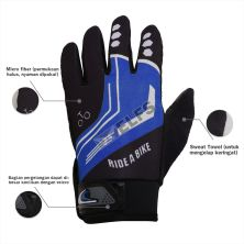 SARUNG TANGAN & MANSET Sarung Tangan Sepeda Full Finger Road Bike Gloves Biru Tua
