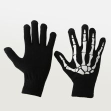 SARUNG TANGAN & MANSET Elfs  Sarung Tangan Tengkorak Glow in the Dark Halloween Skull Gloves Full Hitam