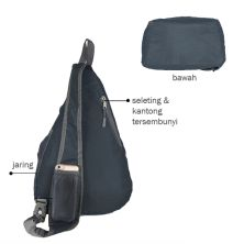 SLING BAG Tas Selempang Lipat Anti Air Foldable Water Resistant Slingbag 1AX803 ELFS Abu Tua