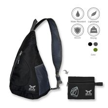 SLING BAG Tas Selempang Lipat Anti Air Foldable Water Resistant Slingbag 1AX803 ELFS Hitam