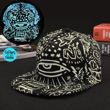 TOPI LED/GLOW Topi Glow in the Dark Blue Fluoreschent Fullprint Mata Hitam