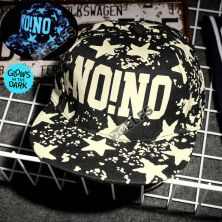 TOPI LED/GLOW Topi Glow in the Dark Blue Fluoreschent Fullprint Nono Hitam
