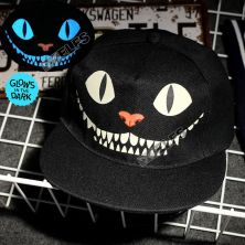 TOPI LED/GLOW Topi Glow in the dark Blue Fluoreschent Print Cheshire Cat Hitam