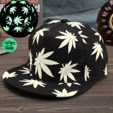 TOPI LED/GLOW Topi Glow in the dark Green Fluoreschent Fullprint Marijuana Hitam