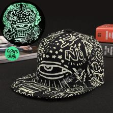 TOPI LED/GLOW Topi Glow in the Dark Green Fluoreschent Fullprint Mata Hitam