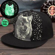 TOPI LED/GLOW Topi Glow in the dark green Fluoreschent Print Direwolf Hitam