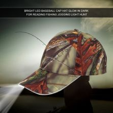 TOPI LED/GLOW Topi Lampu LED Torch Outdoor Hiking Camouflage Coklat Tua