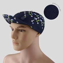 TOPI RIMBA / MANCING Topi Sepeda Cycling Cap Breathable Quick Dry Bike To Work Full Print Kotak Biru Dongker
