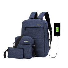 TAS RANSEL BUY 1 GET 2 ELFS TAS RANSEL 3 IN 1 SET ANTI AIR USB CHARGER WATERPROOF BACKPACK SLING BAG  POUCH BIRU DONGKER