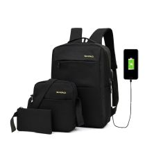 TAS RANSEL Buy 1 Get 2 Elfs Tas Ransel 3 in 1 Set Anti Air USB Charger Waterproof Backpack Sling bag  Pouch Hitam