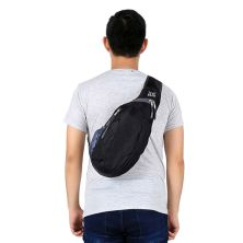 SLING BAG Tas Selempang Lipat Anti Air Foldable Water Resistant Slingbag 1AX802 ELFS Hitam