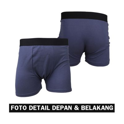 BOXER POLOS Boxer Briefs Katun Pria Import List Celana Dalam CD Kolor Abu Tua 3 xk_boxer_briefs_import_list_3pcs_mx2